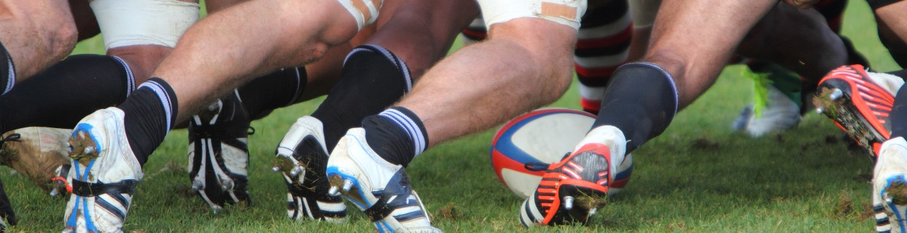 Rugby players on a field